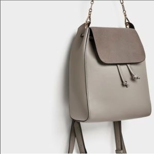Zara Taupe Gray Chain Small Backpack